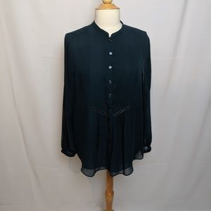 Coldwater Creek Forest Green Long Sleeve Blouse
